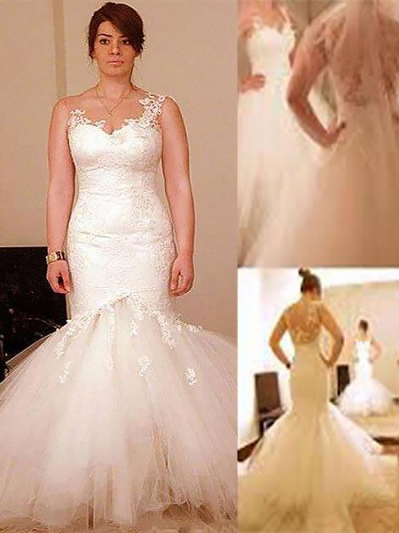 Mermaid Sleeveless Straps Long Ivory Organza Wedding Dresses