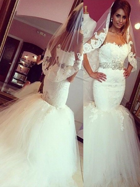 Mermaid Sleeveless Sweetheart Court Train Ivory Tulle Wedding Dresses