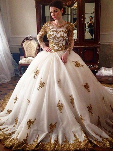 Ball Gown Long Sleeves Scoop Court Train Ivory Tulle Wedding Dresses