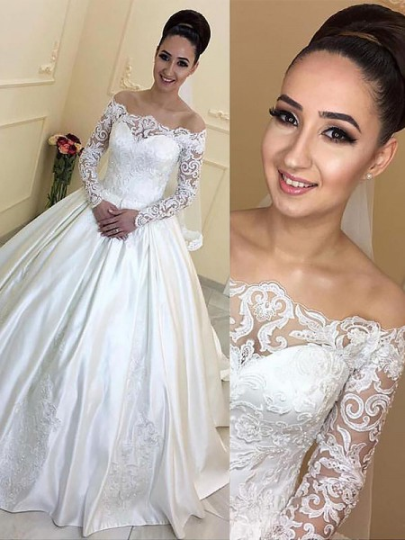 Ball Gown Long Sleeves Off-the-Shoulder Court Train Ivory Satin Wedding Dresses
