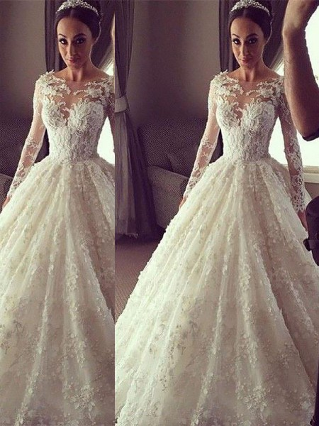 Ball Gown Long Sleeves Scoop Court Train Ivory Lace Wedding Dresses
