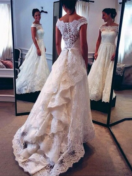 A-Line/Princess Sleeveless Scoop Sweep/Brush Train Ivory Lace Wedding Dresses