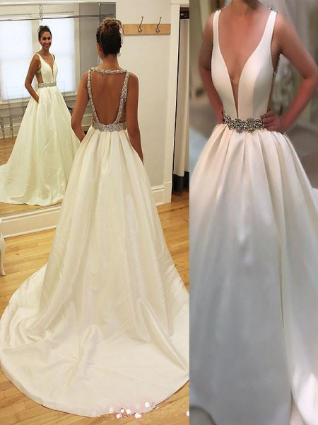 A-Line/Princess Sleeveless V-neck Court Train Ivory Satin Wedding Dresses