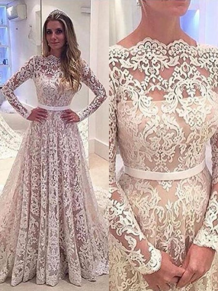A-Line/Princess Long Sleeves Bateau Court Train Ivory Lace Wedding Dresses