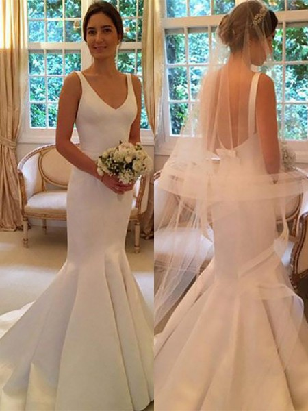 Mermaid Sleeveless V-neck Sweep Train Ivory Satin Wedding Dresses