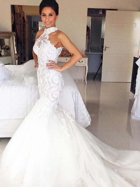 Mermaid Sleeveless Halter Court Train Ivory Tulle Wedding Dresses