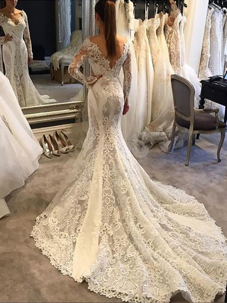 Mermaid Long Sleeves V-neck Court Train Ivory Lace Wedding Dresses