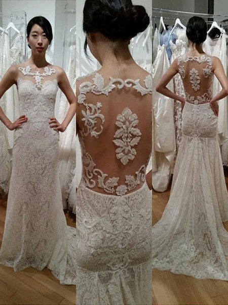 Mermaid Sleeveless Scoop Sweep Train Ivory Lace Wedding Dresses