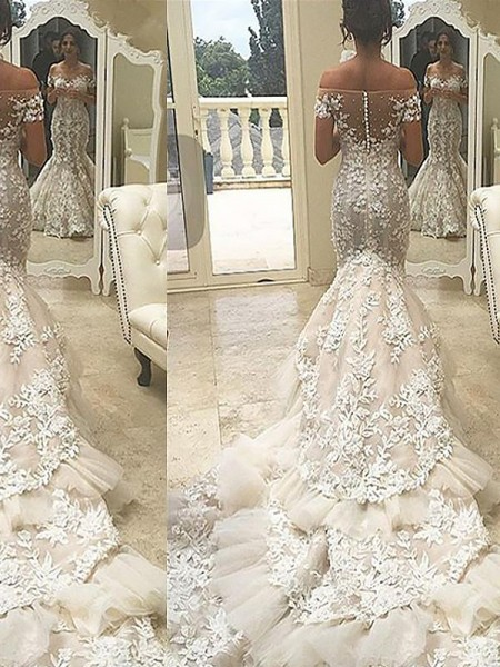 Mermaid Short Sleeves Off-the-Shoulder Chapel Train Ivory Tulle Wedding Dresses
