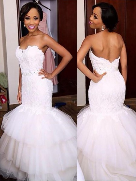 Mermaid Sleeveless Sweetheart Court Train White Tulle Wedding Dresses