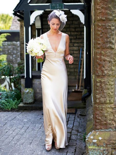 Sheath/Column Sleeveless V-neck Floor-Length Ivory Satin Wedding Dresses