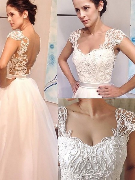 A-Line/Princess Sleeveless Sweetheart Sweep Train Ivory Tulle Wedding Dresses