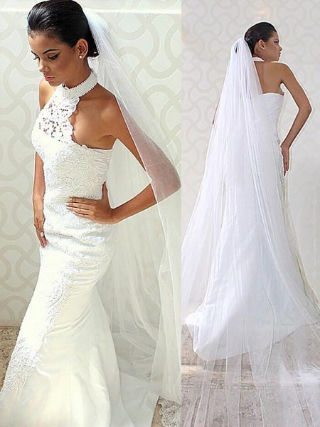 Mermaid Sleeveless Halter Sweep Train Ivory Satin Wedding Dresses
