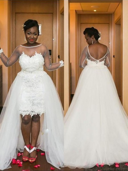A-Line/Princess Long Sleeves Scoop Court Train Ivory Tulle Wedding Dresses