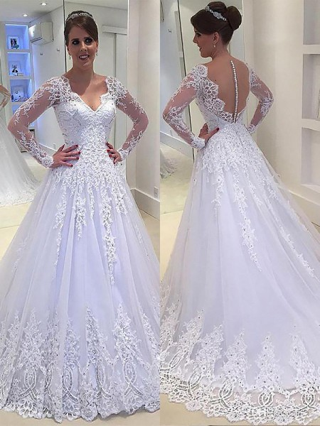 A-Line/Princess Long Sleeves V-neck Court Train Ivory Tulle Wedding Dresses