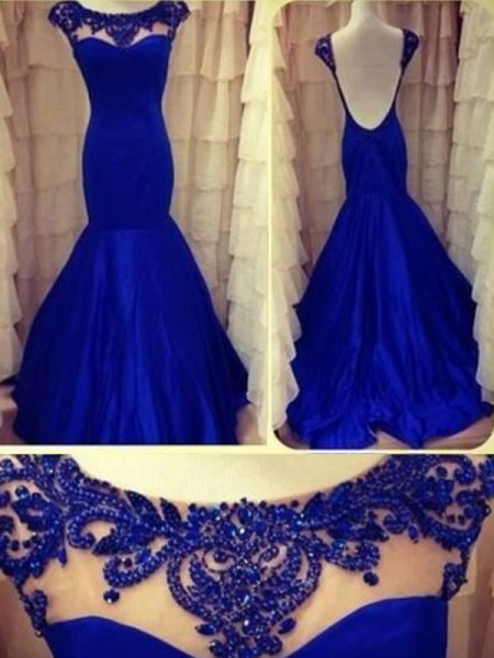 Mermaid Sleeveless Scoop Long Royal Blue Taffeta Prom Dresses