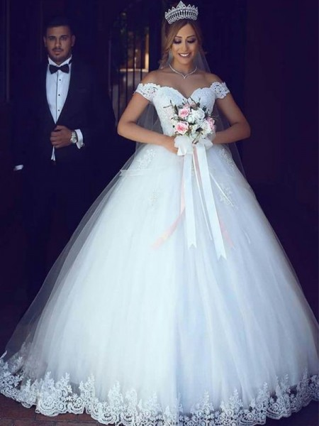 Ball Gown Sleeveless Off-the-Shoulder Floor-Length Tulle Lace Wedding Dresses