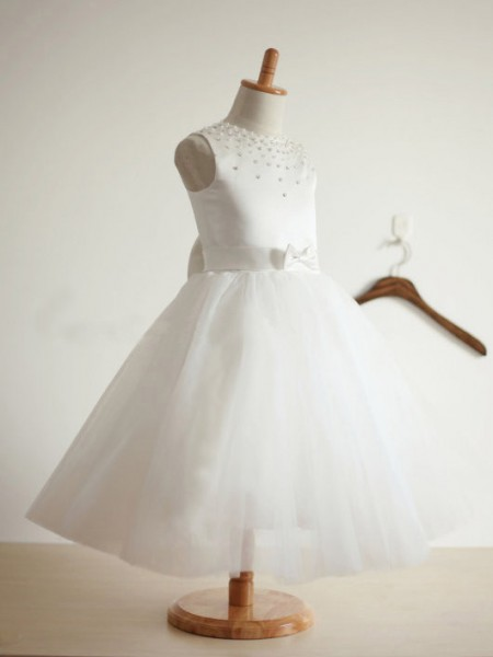 Ball Gown Jewel Sleeveless Tea-length Ivory Flower Girl Dresses